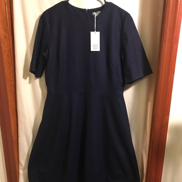 COS Dresses & Skirts - COS navy cocoon wool dress size 12